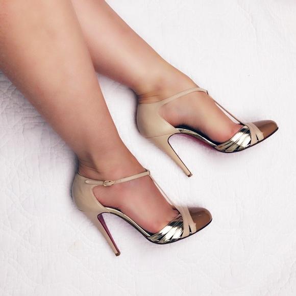 25988c6bd07c Christian Louboutin Shoes - Christian Louboutin Gino nude   gold T strap  heels